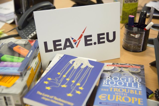 "A sign for pro Brexit group pressure group ""Leave.Eu"" is seen in their office in"