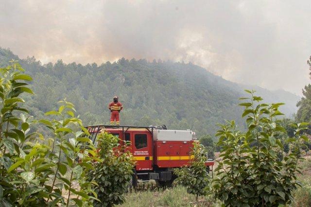 Imagen del incendio en Carcaixent cuando aún estaba activo