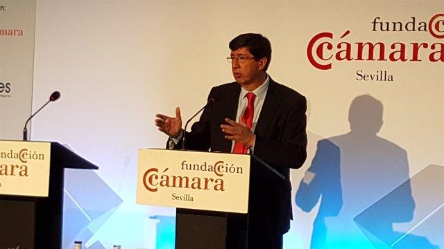 Juan Marín, hoy durante su conferencia