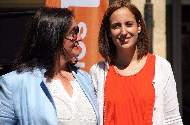 La dirigente de C's Pilar Vicente, durante su visita a Palencia.