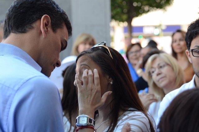 Pedro Sánchez durante un acto de campaña
