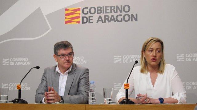 Vicente Guillén y Marta Gastón, miembros del Gobierno de Aragón