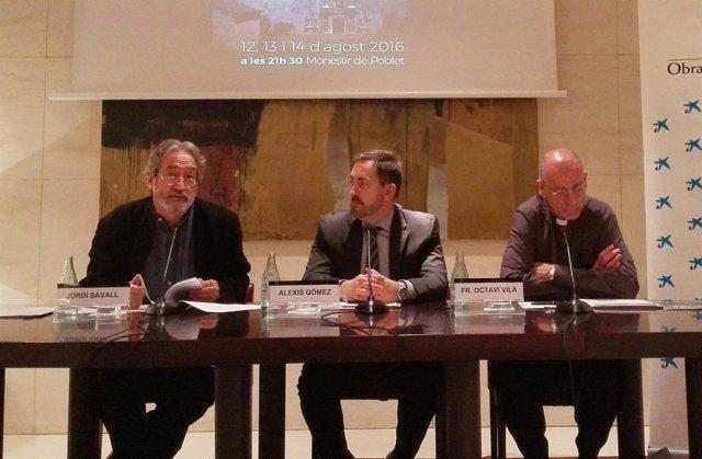Jordi Savall, Alexis Gómez y Octavi Vilà en la presentación del Festival