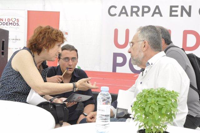 Rosa Magallón y Pedro Arrojo, de Unidos Podemos.