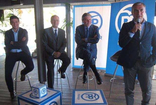 De la Torre, ministro Méndez de Vigo y Elías Bendodo en acto público 26J