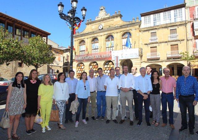 Javier Maroto con Sanz, Del Río, Pérez Pastor y Ceniceros en Haro
