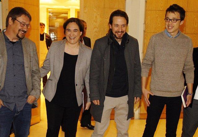 Xavier Domenech, Ada Colau, Pablo Iglesias e Iñigo Errejón