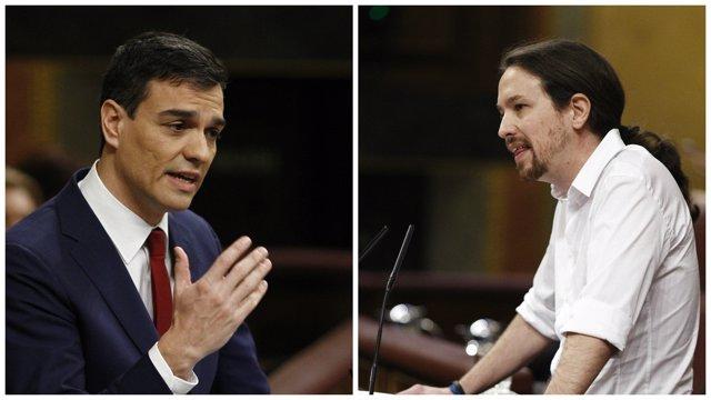 Pedro Sánchez y Pablo Iglesias en el discurso de investidura en el Congreso