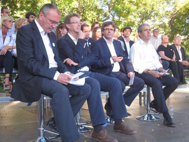 Francesc Homs (CDC) en un mitin este martes en Vilanova i la Geltrú