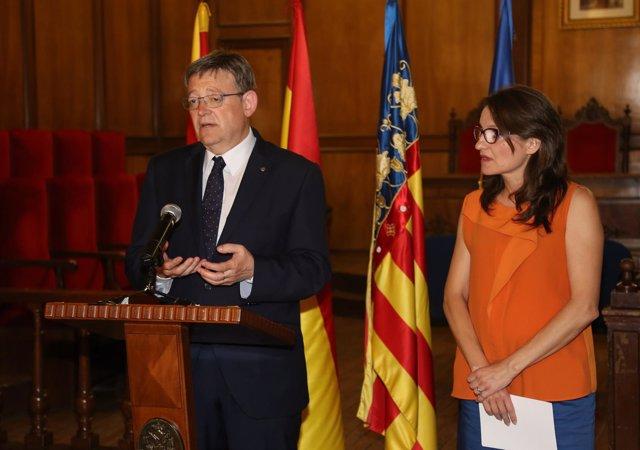 Ximo Puig y Mónica Oltra en una rueda de prensa