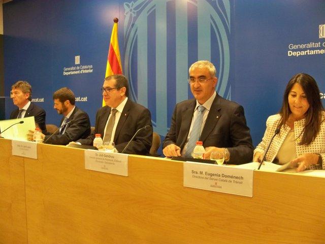 J.Delort, A.Batlle, J.Jané, J.Gendrau y E.Doménech, en rueda de prensa
