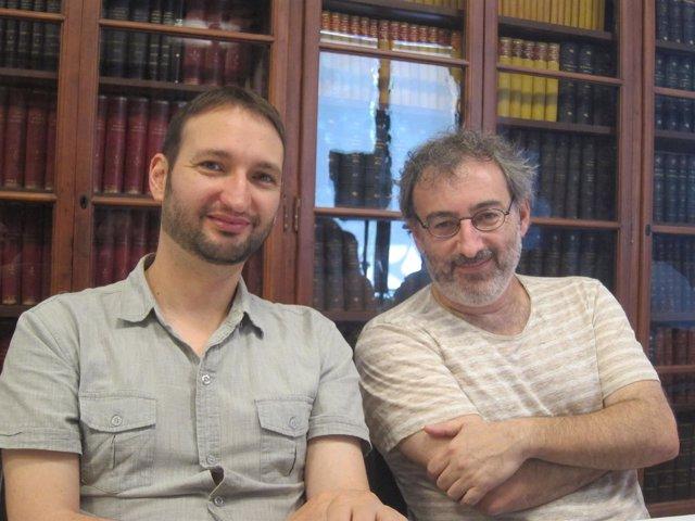 El editor Aniol Rafel y el escritor Joan Benesiu
