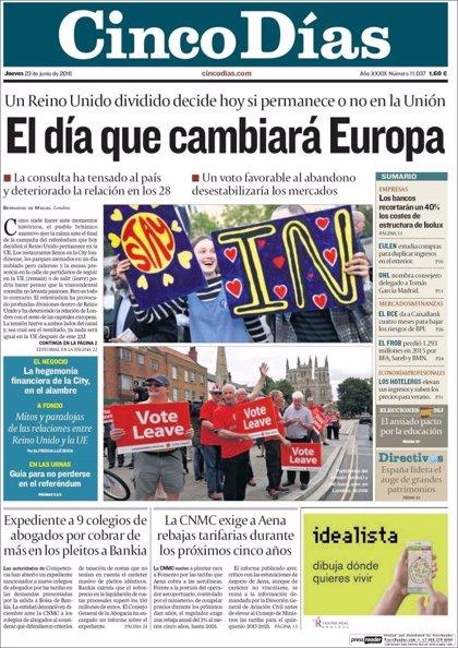 Las portadas de los periódicos económicos de hoy, jueves 23 de junio de 2016
