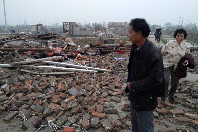 Daños causados por las tormentas en el este de China