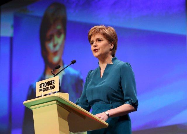 Nicola Sturgeon, en una cumbre del SNP