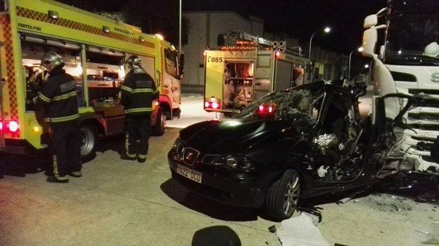 Vehículo siniestrado en el accidente mortal de Medina Sidonia (Cádiz)