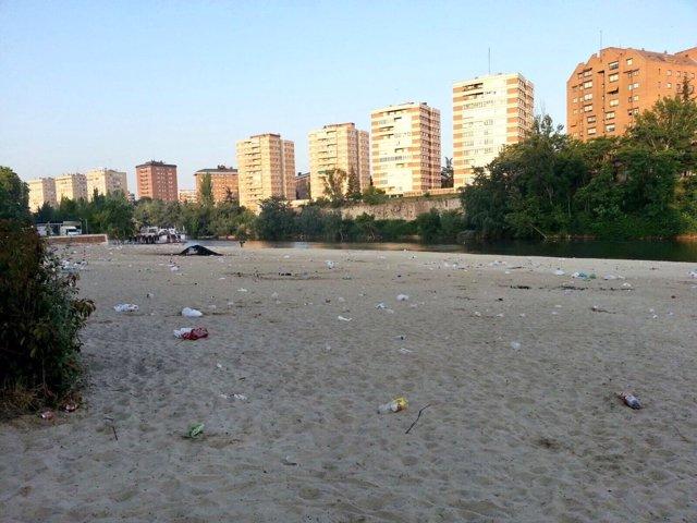 Imagen de la playa de Las Moreras durante la limpieza
