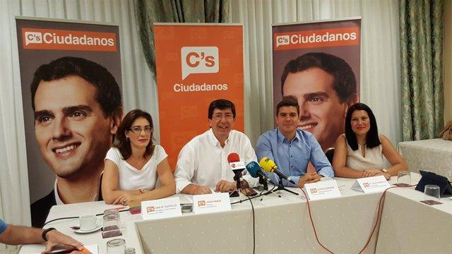 Juan Marín en rueda de prensa en Sanlúcar