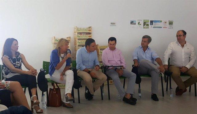 Elías Bendodo y Juanma Moreno, encuentro con agricultores en Estepona