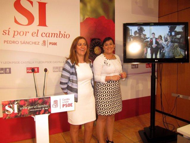 Virginia Barcones (izda) y Ana Sánchez, en la sede del PSCyL.