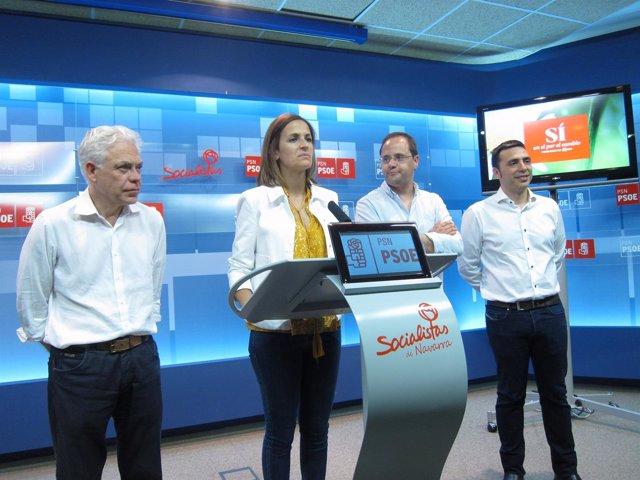 Los candidatos del PSN, Chivite y Luena en la rueda de prensa