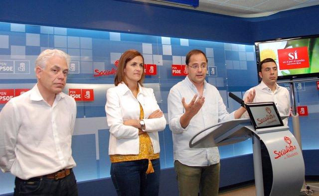 Fernández, Chivite, Luena y Magdaleno en la rueda de prensa