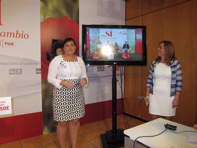 Ana Sánchez (izda) y Virgina Barcones, en la sede del PSCyL.
