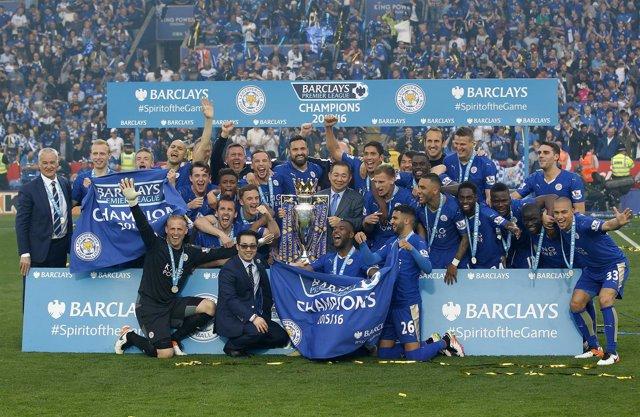 El Leicester celebra el título de Premier League