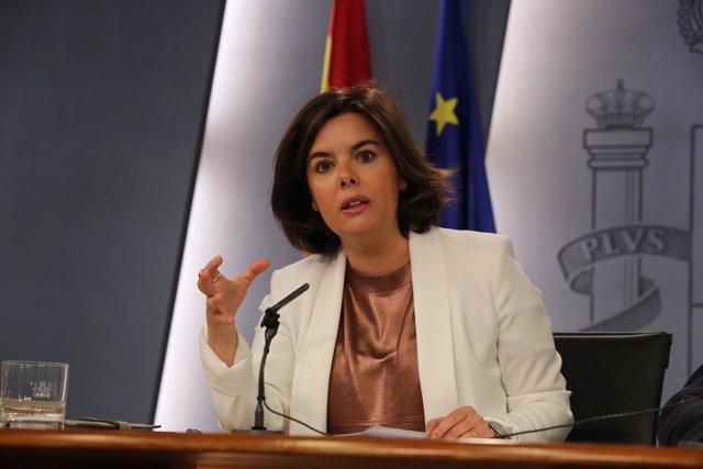 Soraya Sáez de Santamaría tras el Consejo de Ministros