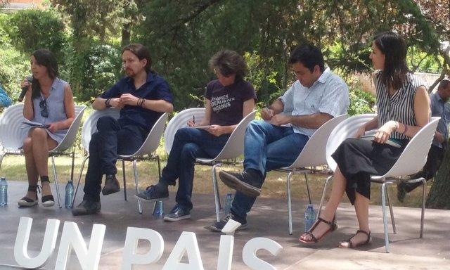 El líder de Podemos, Pablo Iglesias, en un mitin en la Universidad Complutense