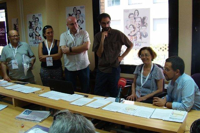 Sergio Pascual, durante la reunión