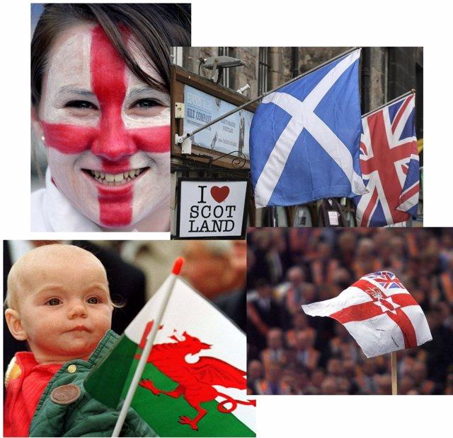 Banderas de Inglaterra, Escocia, Gales e Irlanda del Norte