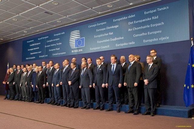 Foto de familia del Consejo Europeo en febrero de 2016