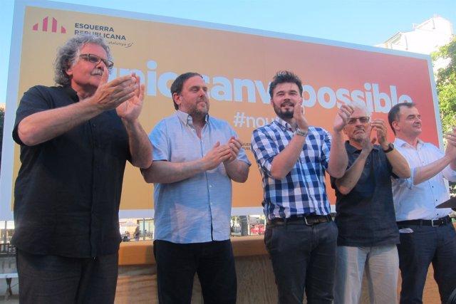 Joan Tardà, Oriol Junqueras, Gabriel Rufián, Santi Vidal, Alfred Bosch (ERC)