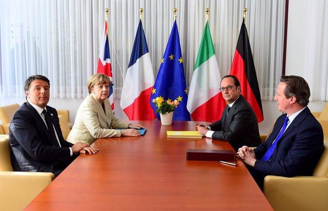 Angela Merkel, David Cameron, François Hollande y Matteo Renzi