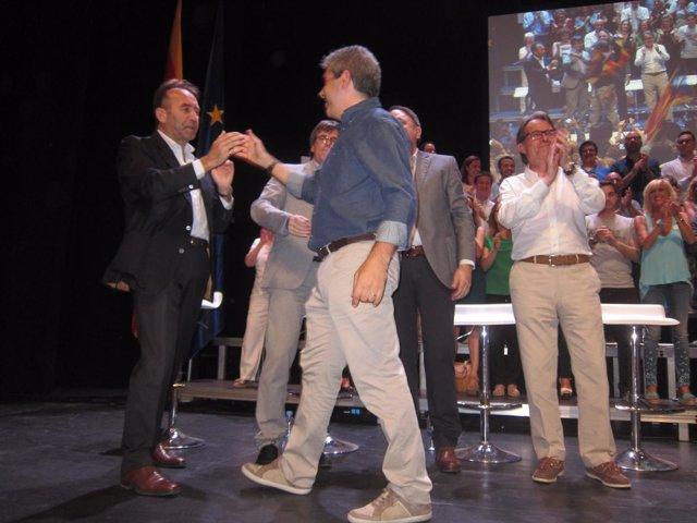 M.Calçada, C.Puigdemont, F.Homs, V.Junyent y A.Mas en Manresa