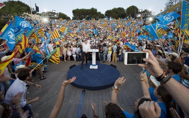 Mariano Rajoy, en el acto de cierre de campaña en Valencia