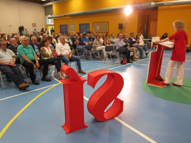 Eva Díaz Tezanos en un mitin en Torrelavega