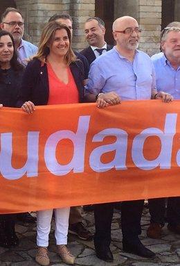 María Rey y Xosé Canedo (Ciudadanos) en un acto