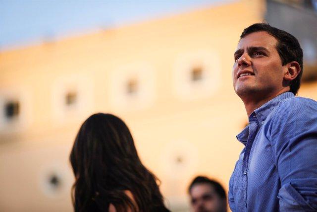 Albert Rivera, durante el acto de cierre de campaña en Madrid