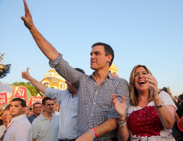 Pedro Sánchez y Susana Díaz cierran la campaña en Sevilla