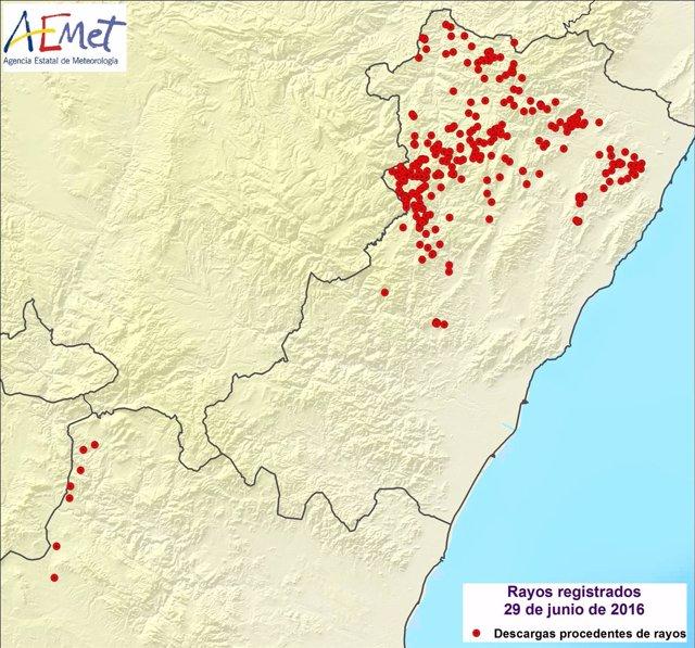 Descargas procedentes de rayos registradas en Castellón y Valencia