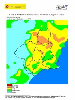 Mapa con el riesgo de incendios forestales