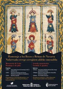 Leire acoge este domingo 3 de julio el homenaje a los Reyes y Reinas de Navarra