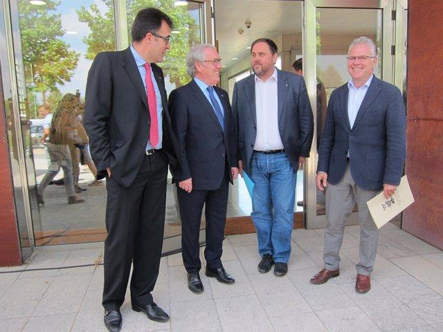 L.Salvadó (Govern), alcalde J.Poblet, conseller O.Junqueras, alcalde P.Granados