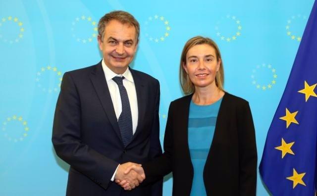 Federica Mogherini y José Luis Rodríguez Zapatero