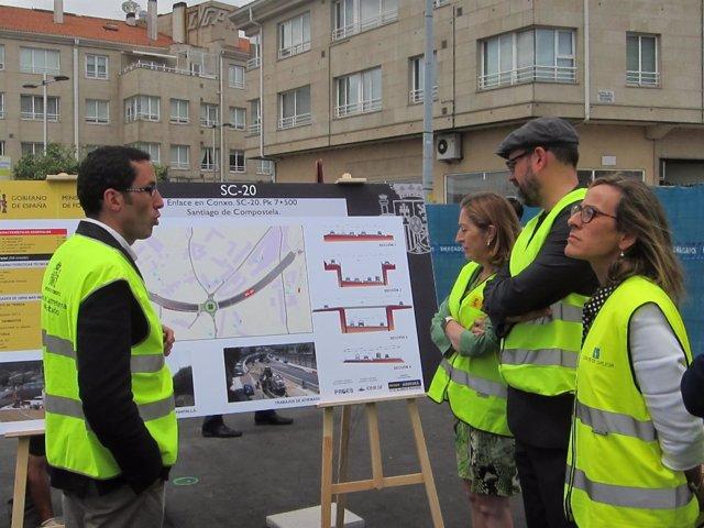 La ministra de Fomento, Ana Pastor, visita las obras del enlace de Conxo