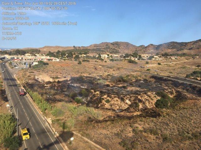 Imagen Del Incendio Declarado En El Llano Del Beal