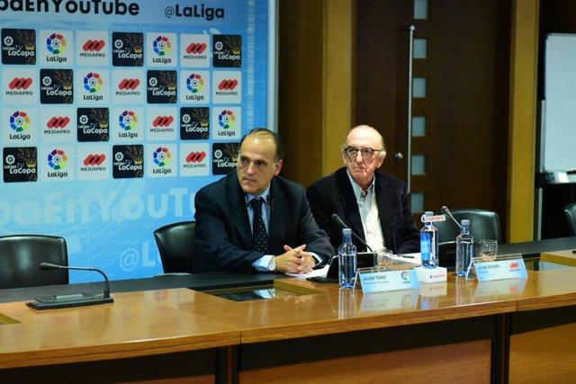 La liga, La copa en youtube. Javier Tebas y Jaume Roures