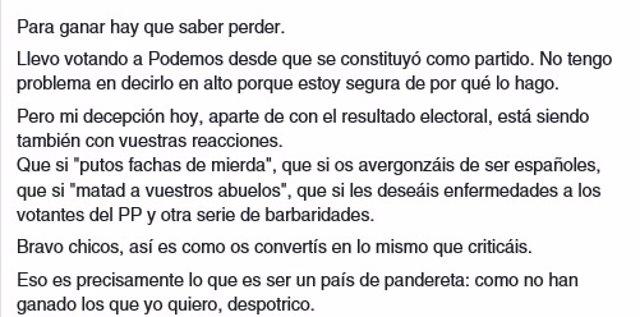Carta viral de una votante de Podemos contra los insultos a los votantes del PP